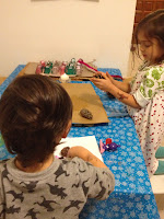 children, crafting, crafts, snowflake tablecloth