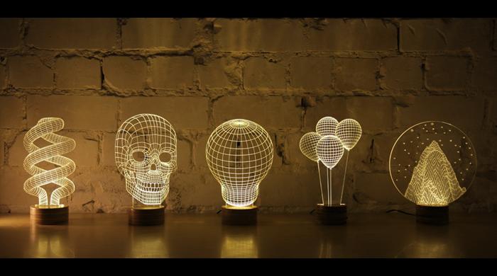 Ilusión óptica de la lámpara 2D parece increíblemente 3D