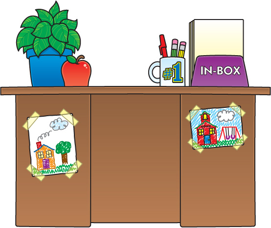Cartoon Teachers Desk Clip Art