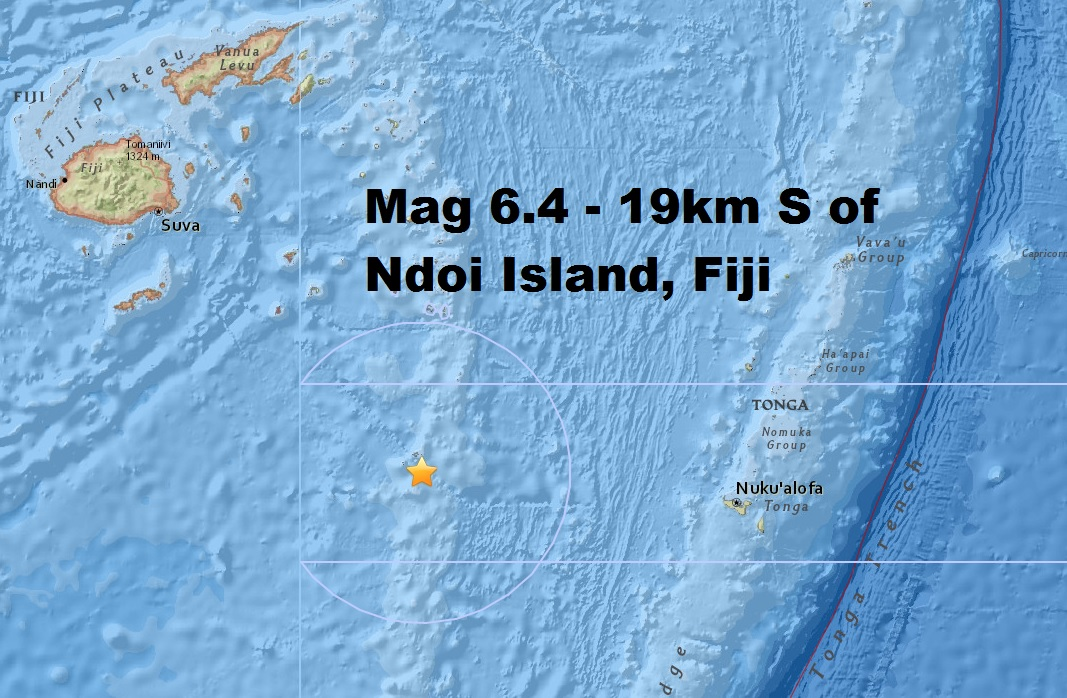 M6.4 - 19km S of Ndoi Island, Fiji is only the third major quake this month despite the uptick...