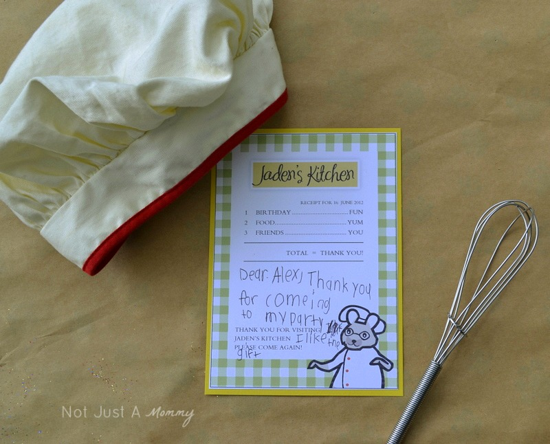 Little Chef Cooking Party thank you cards