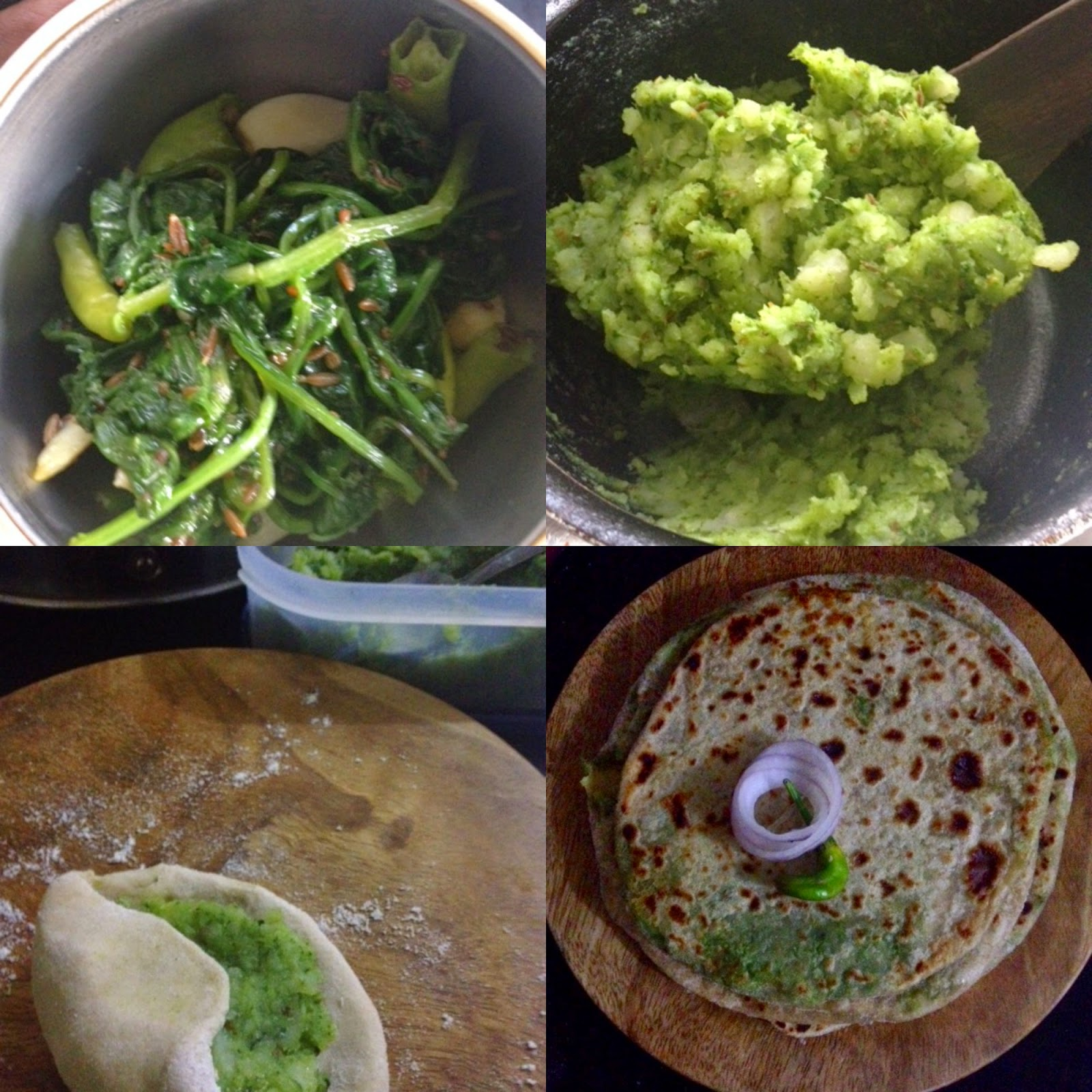 aloo palak potato spinach paratha