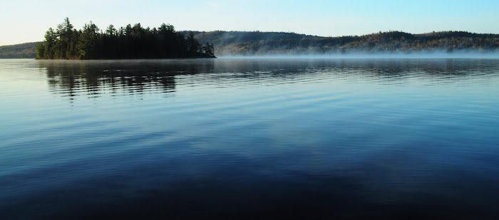 Lake of Two Rivers, As the mist rises. Algonquin Park
