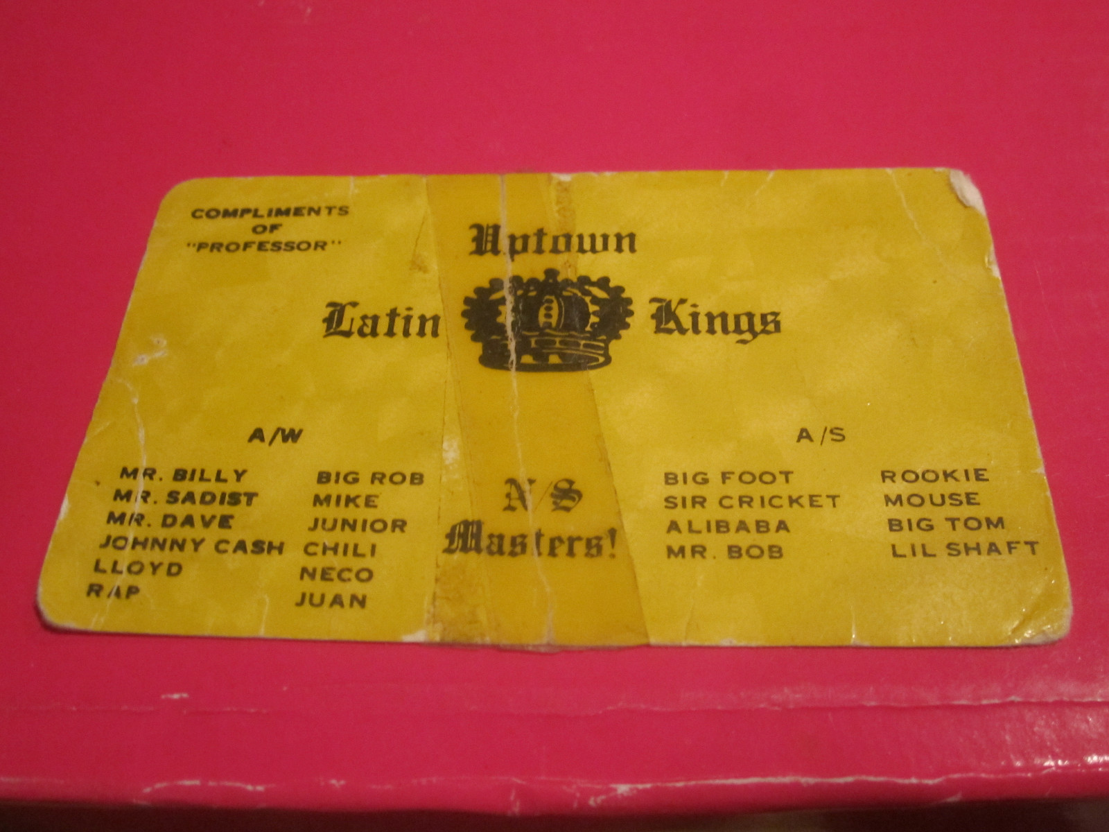 uptown chicago history: uptown latin kings business card  gang