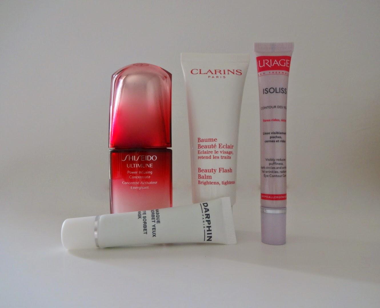 shiseido ultimune, clarins beauty flash balm, isoliss uriage, darphin maschera contorno occhi, top beauty products, prodotti migliori skin care, preferiti del mese