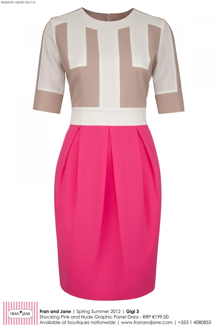 beautiful mix of nude graphic panels and a hot pink skirt...