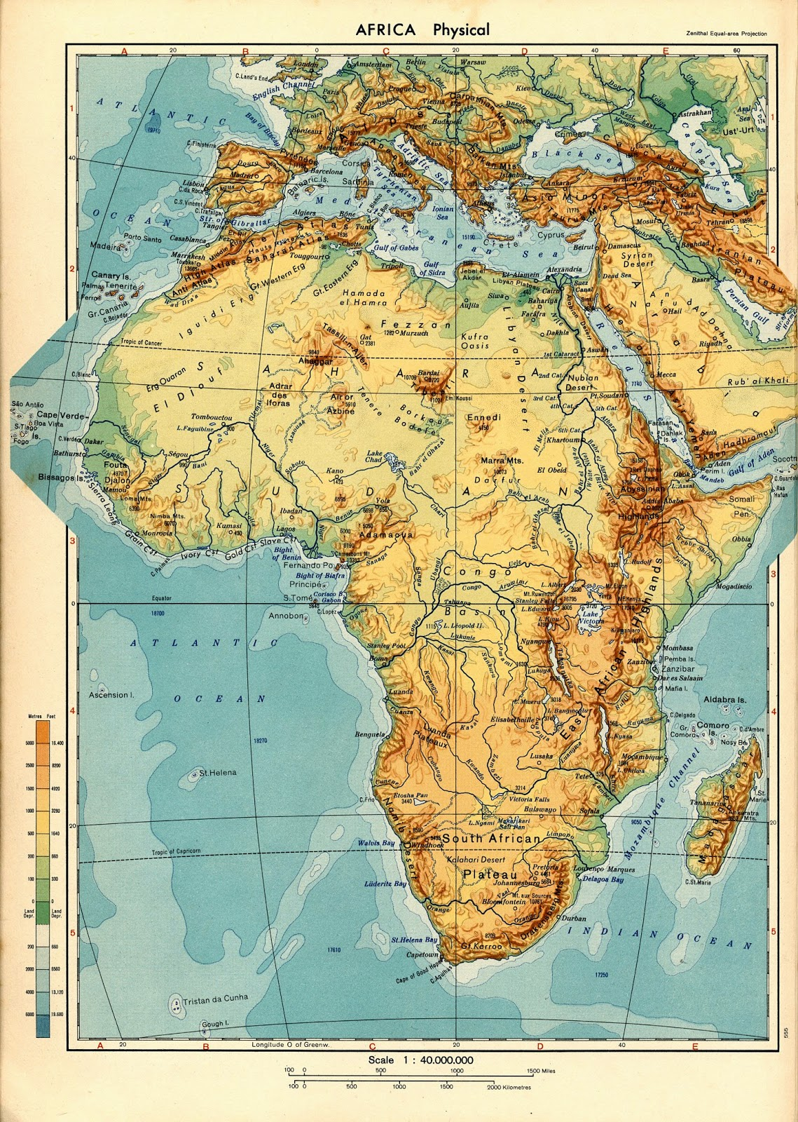 Geography And History Blog Africa Physical Map - Africa physical map