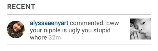 hateful IG comment