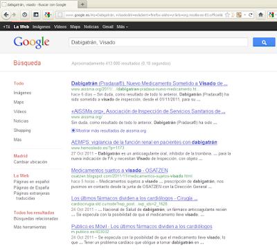 AISSMa #1 en Google (Nov. 2011), al introducir los trminos de bsqueda &#171;Dabigatrn, Visado&#187;