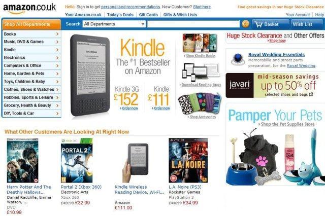 Portada de una web comercial Tienda online Amazon