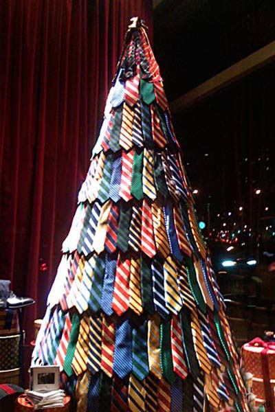 stare tree egg carton made of ties - Awesome Christmas Trees