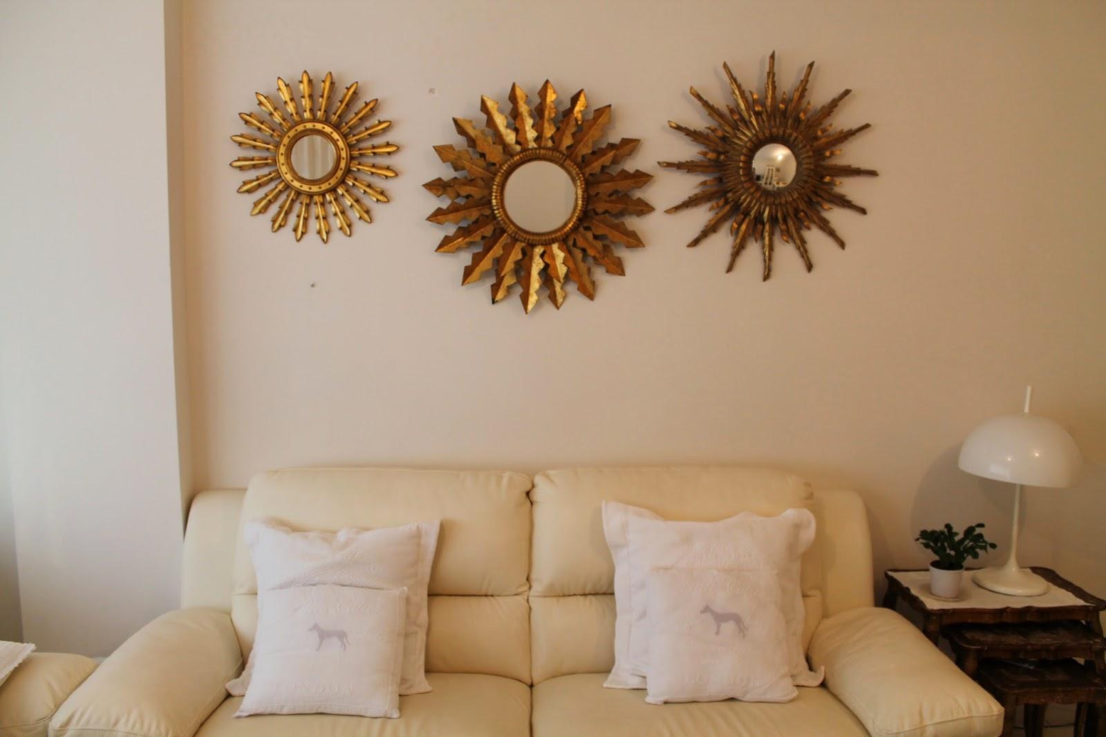 Vintager a espejo de sol de madera tallada y pan de oro a os 50 60 - Espejos de sol ...