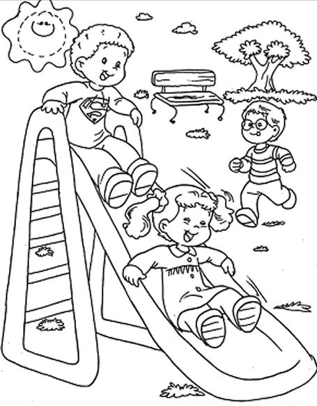 Dibujos de niños jugando parque para colorear - Imagui
