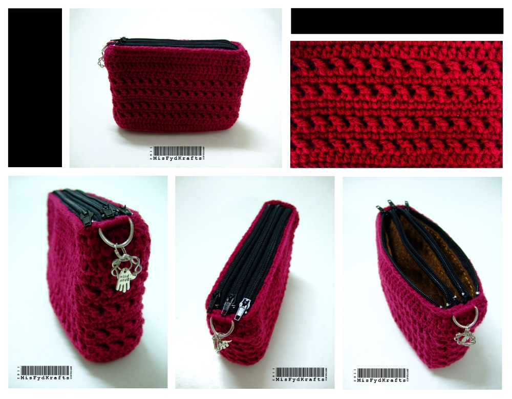 Crochet Pouch : MisFydKrafts: Custom Triple Zippered Crochet Pouch!