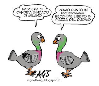 Passera, Milano, satira, vignetta