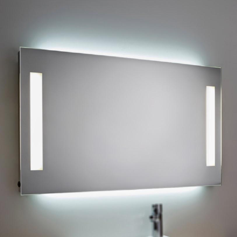 espejo rectangular baño luz cuadrado