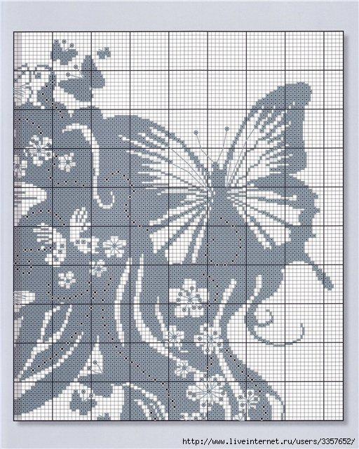 Схема вышивки черно-белого