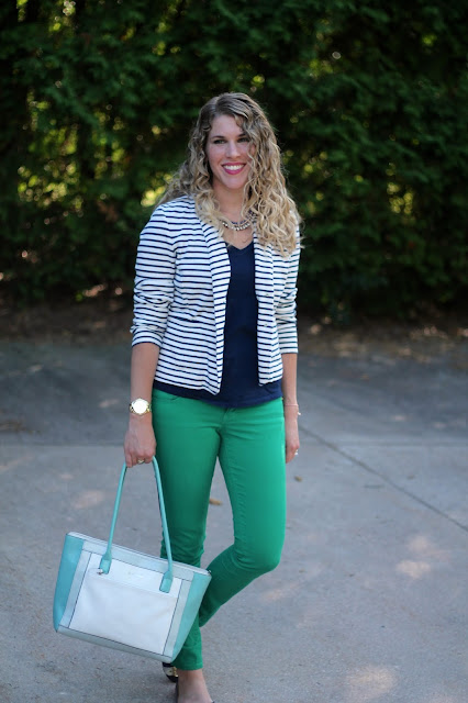 navy tee, striped blazer, green jeans, navy flats, white and mint leather tote