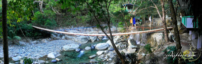 Panoramic shot of the Calawagan Hanging Bridge 