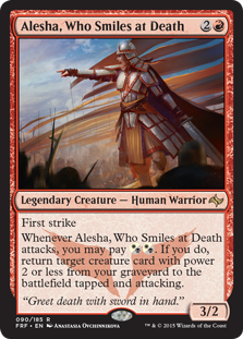 "Image of the Magic the Gathering card ""Alesha, Who Smiles at Death"" (Legendary Creature - Human Warrior)"