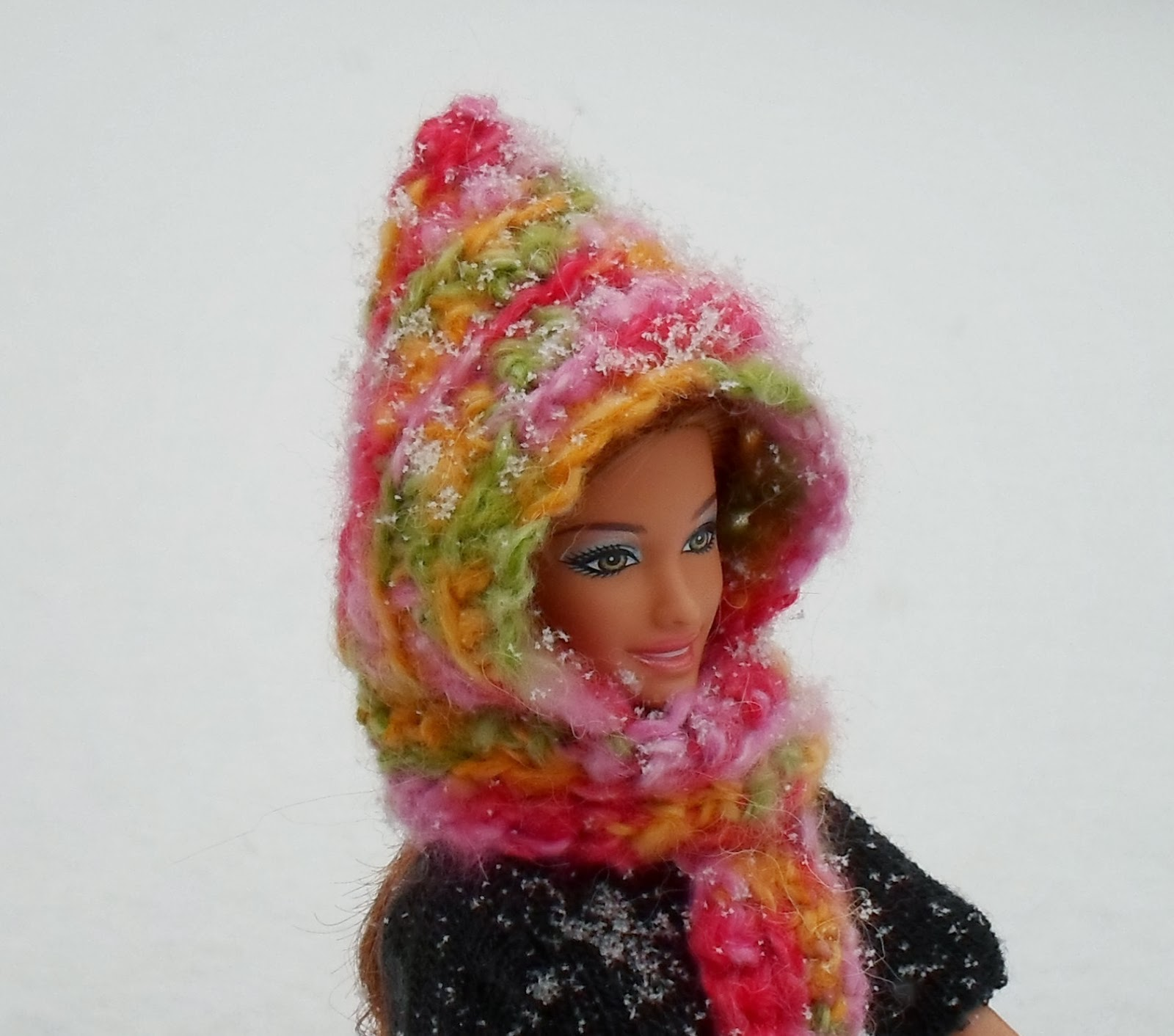 Happier Than A Pig In Mud: Easy Hooded Scarf for Barbie-Crochet Pattern