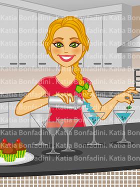 Detalhe da ilustração: personagem prepara martinis. Cliente: Liliane Engel (Caminho da Gula)