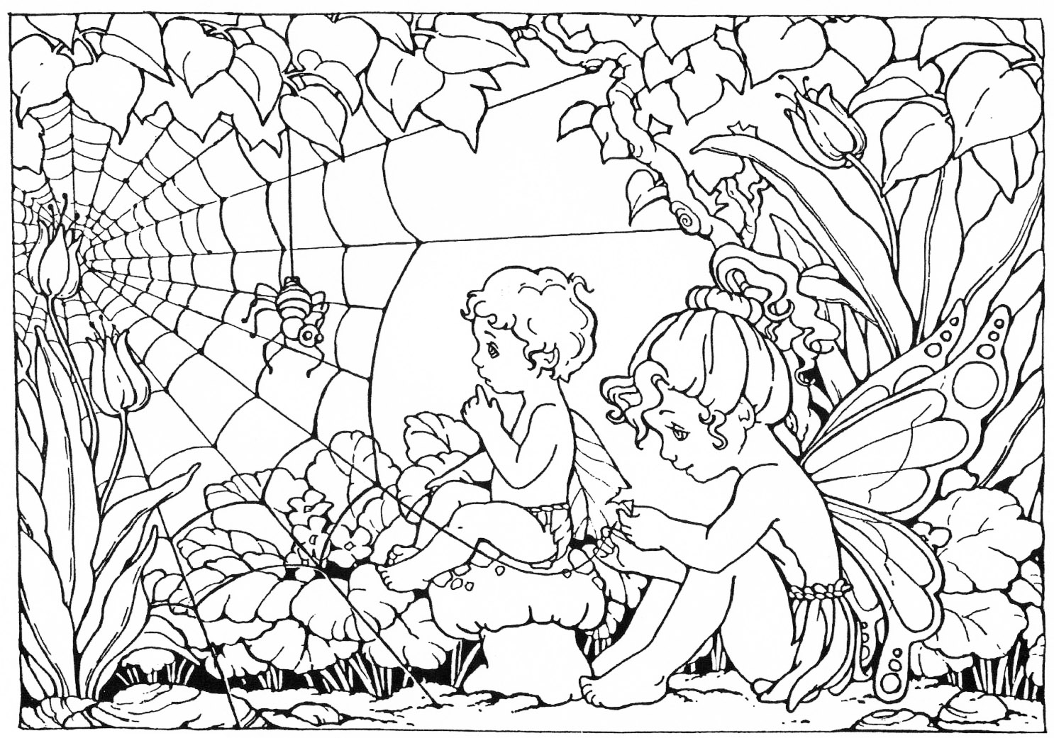 Advanced Coloring Pages Of Fairies : Fairy coloring pages