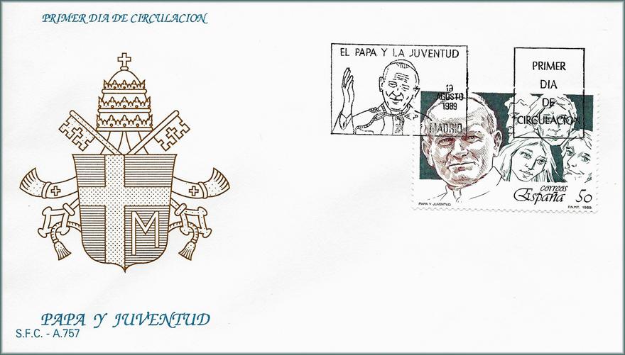 Sobre Primer Día de Circulación sello Papa y Juventud 1989