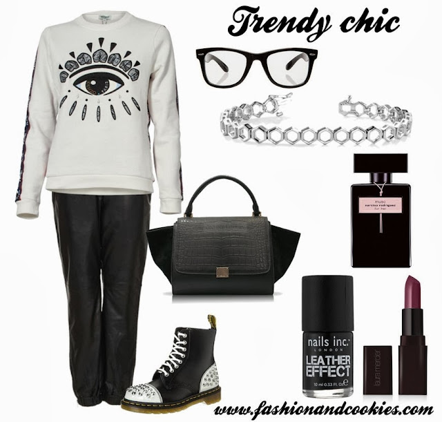 Trendy chic look, fashion blogger, fashion and cookies, Kenzo eye sweater, Celine trapeze bag, anjolee hexagon link bracelet