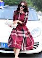 New 2015 Autumn Long Sleeve Checkered Skater Past Knee Length Dress