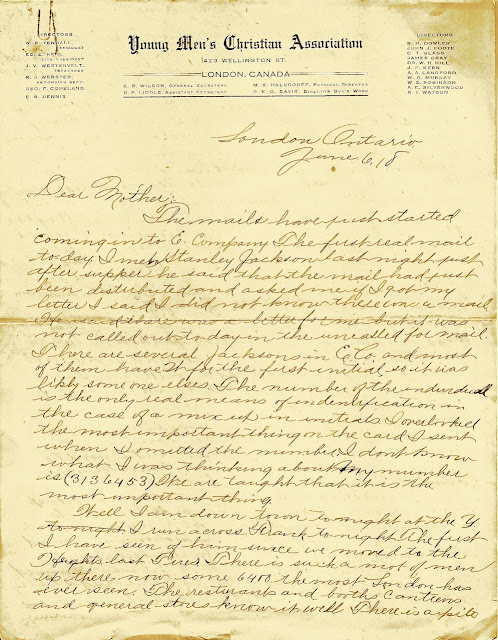 Letters From World War One June 6 1918 Bert Jacksons