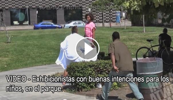 VIDEO - Exhibicionistas con buenas intenciones para los niños, en el parque