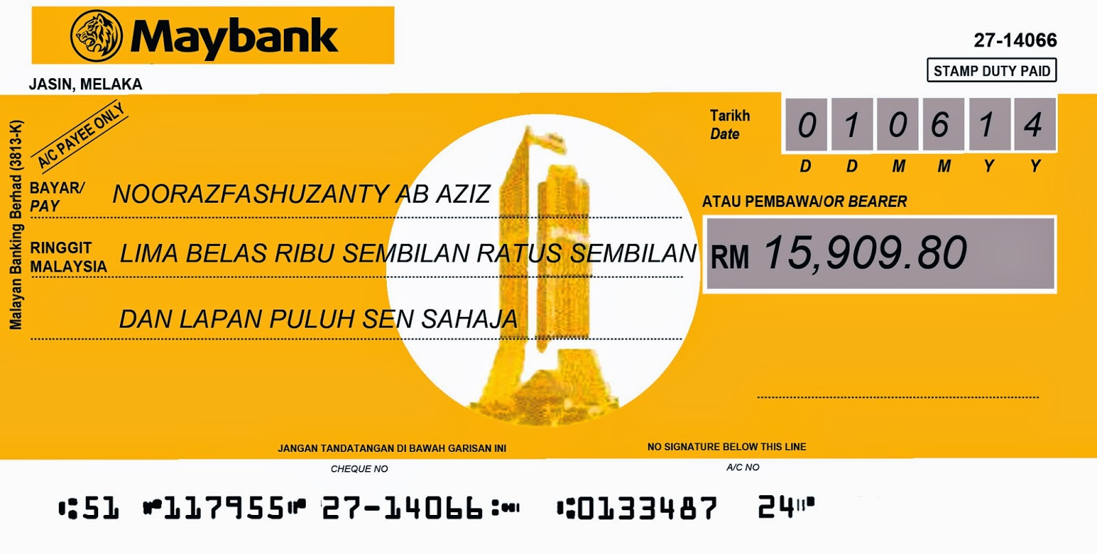 sbkm: thank you tag/tempahan mock up cheque, Powerpoint templates