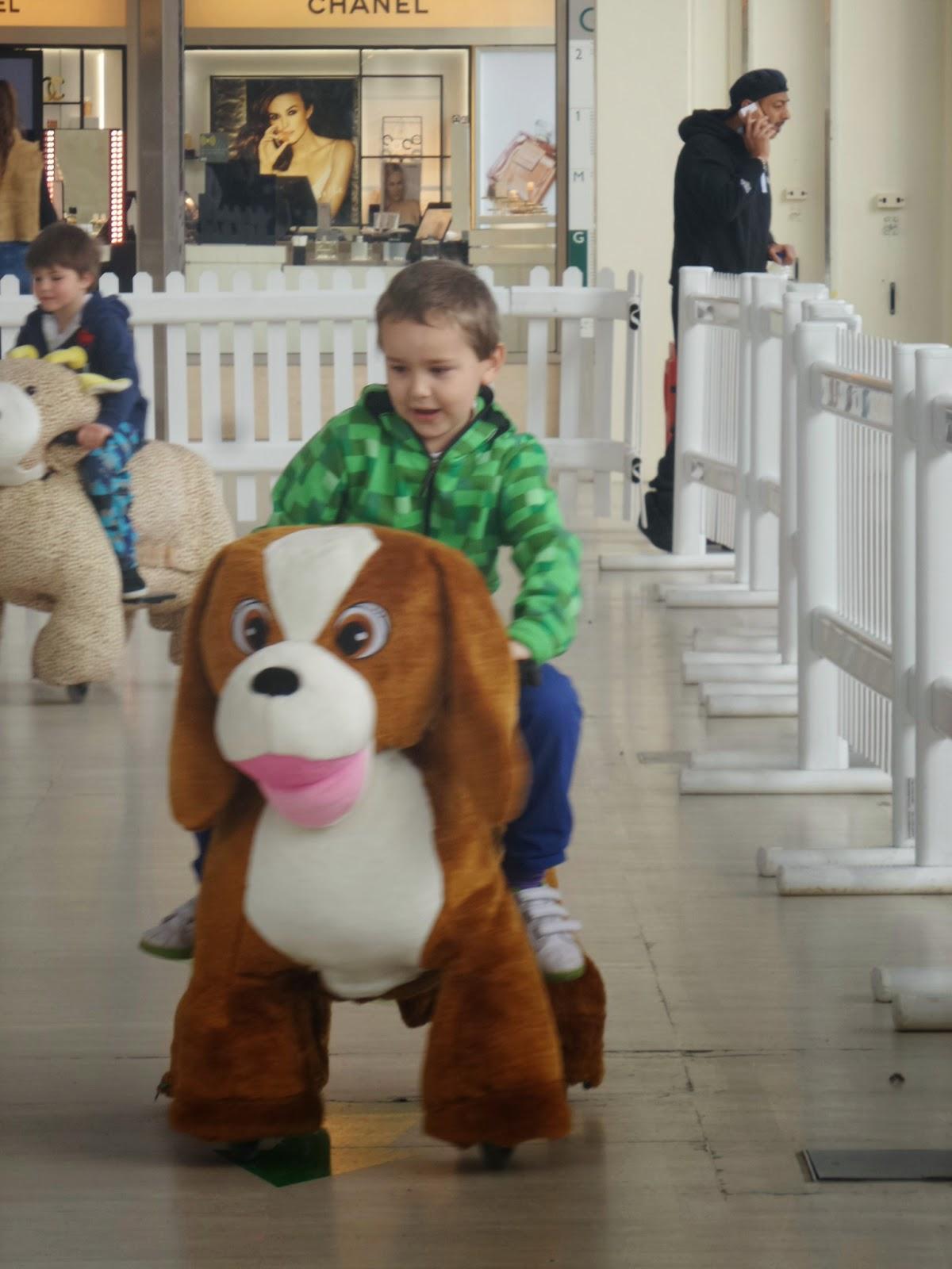Big Boy riding an electric Dog