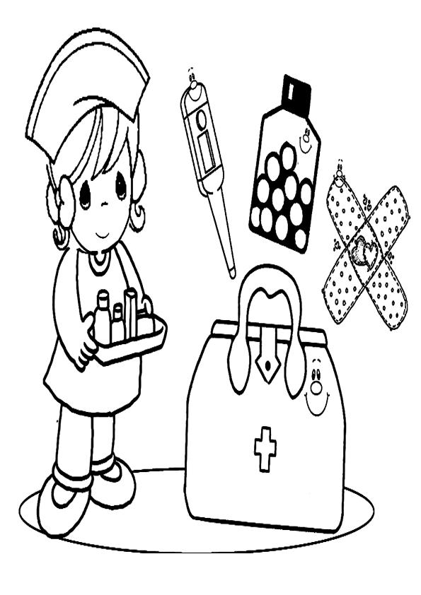 Dibujo de enfermera para colorear | Dibujos para colorear