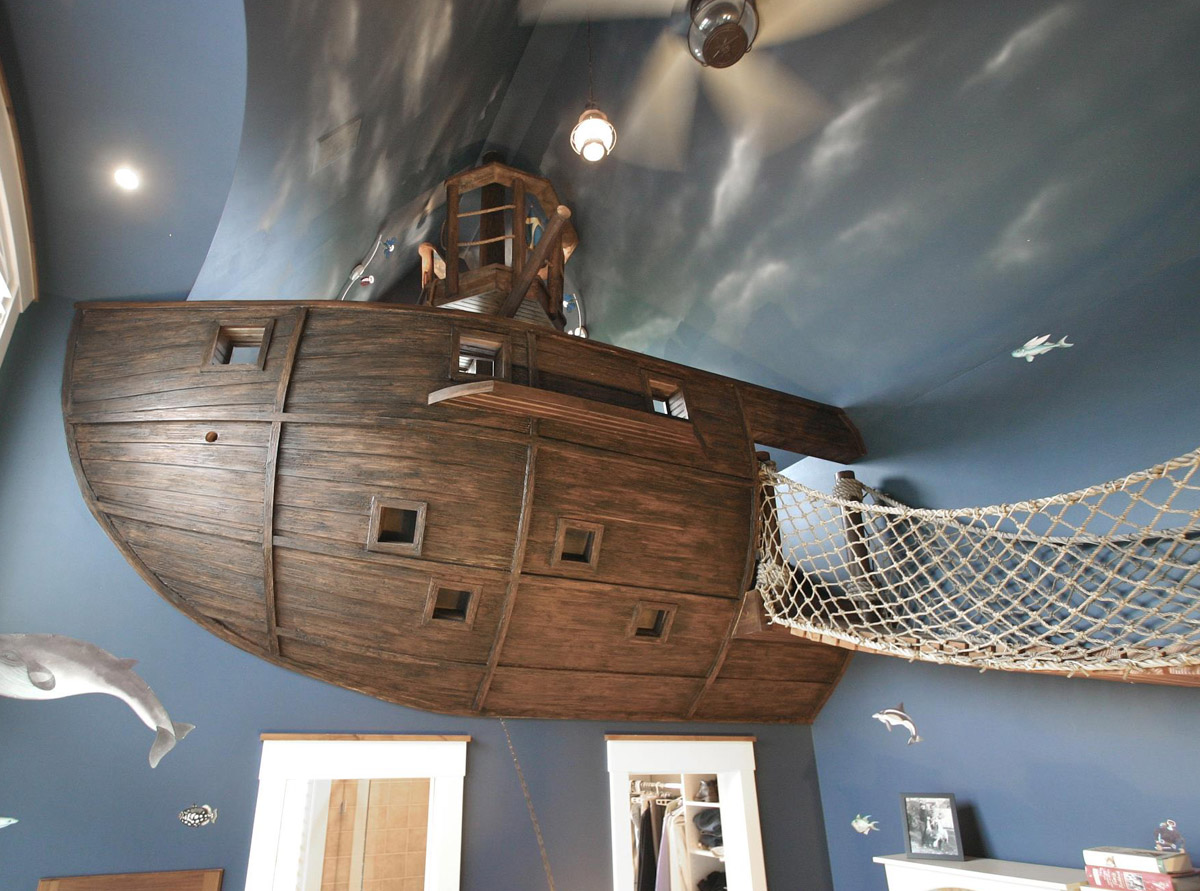 Pirate Ship Room, Climbing Cave And Golf Simulator Make A Home A