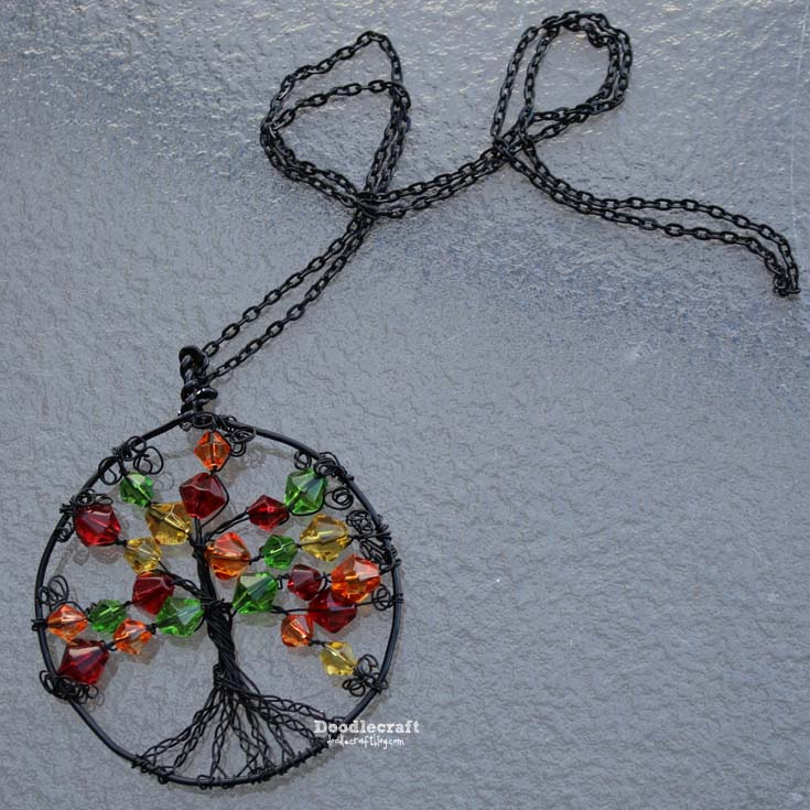 Doodlecraft wire wrapped autumn tree of life necklace add a chain and you are good to wear it mozeypictures Image collections
