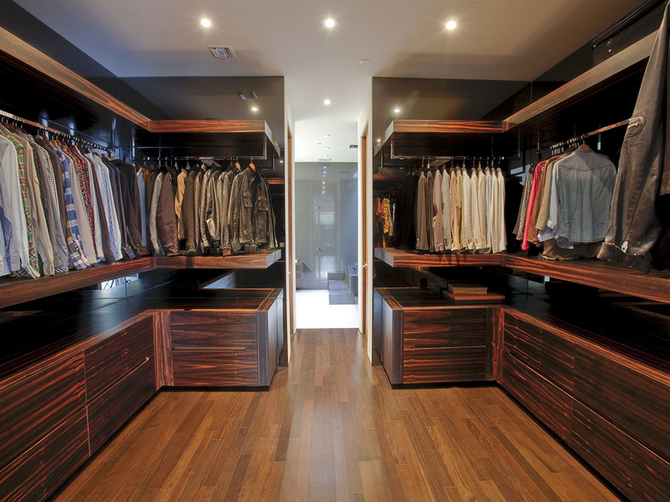 Photo Of Big Walk In Closet With Dark Wooden Furniture
