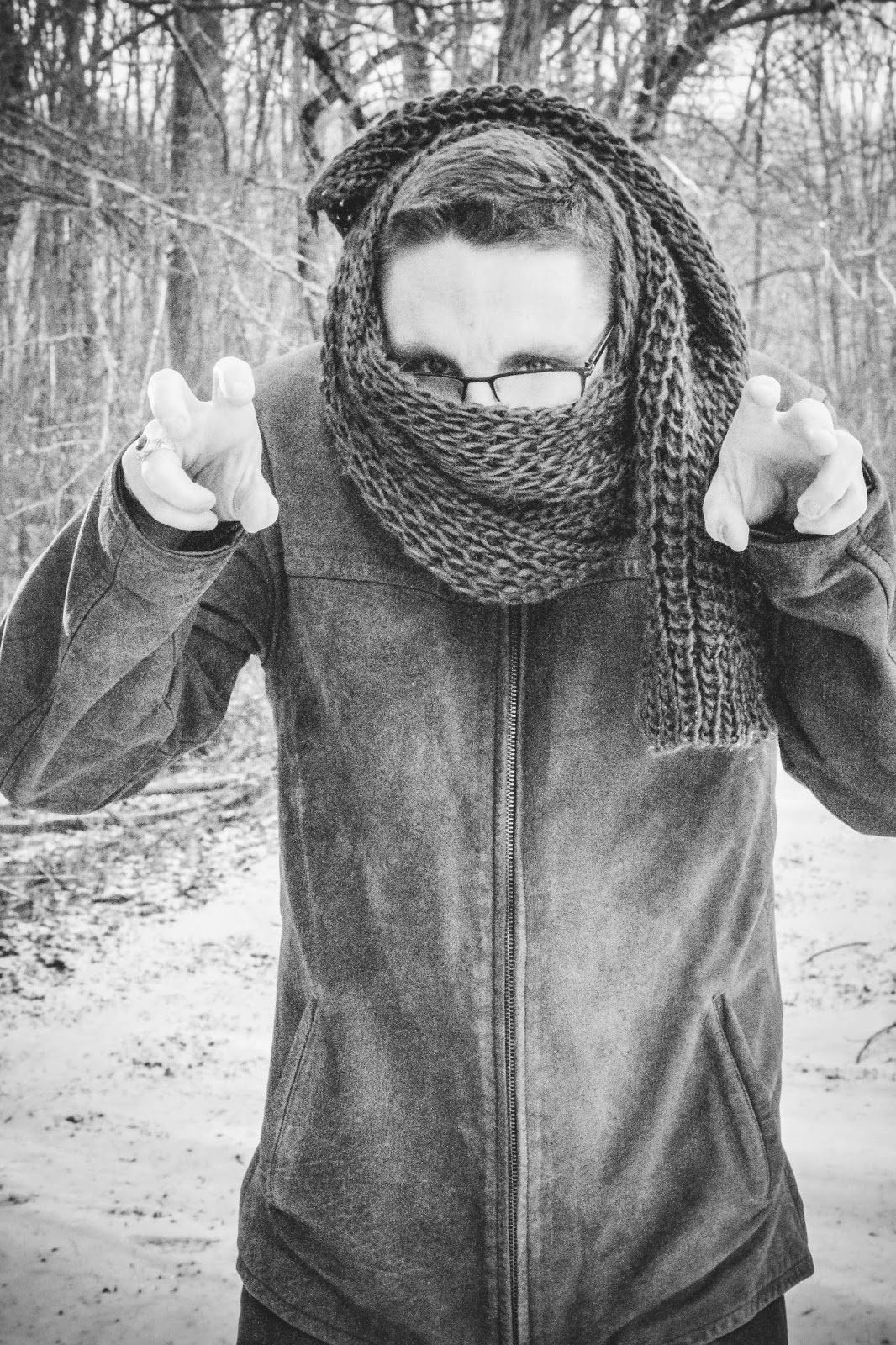 are we out of the woods yet snow georgia outdoors winter photography trees scarf bear silly man glasses grr leather jacket