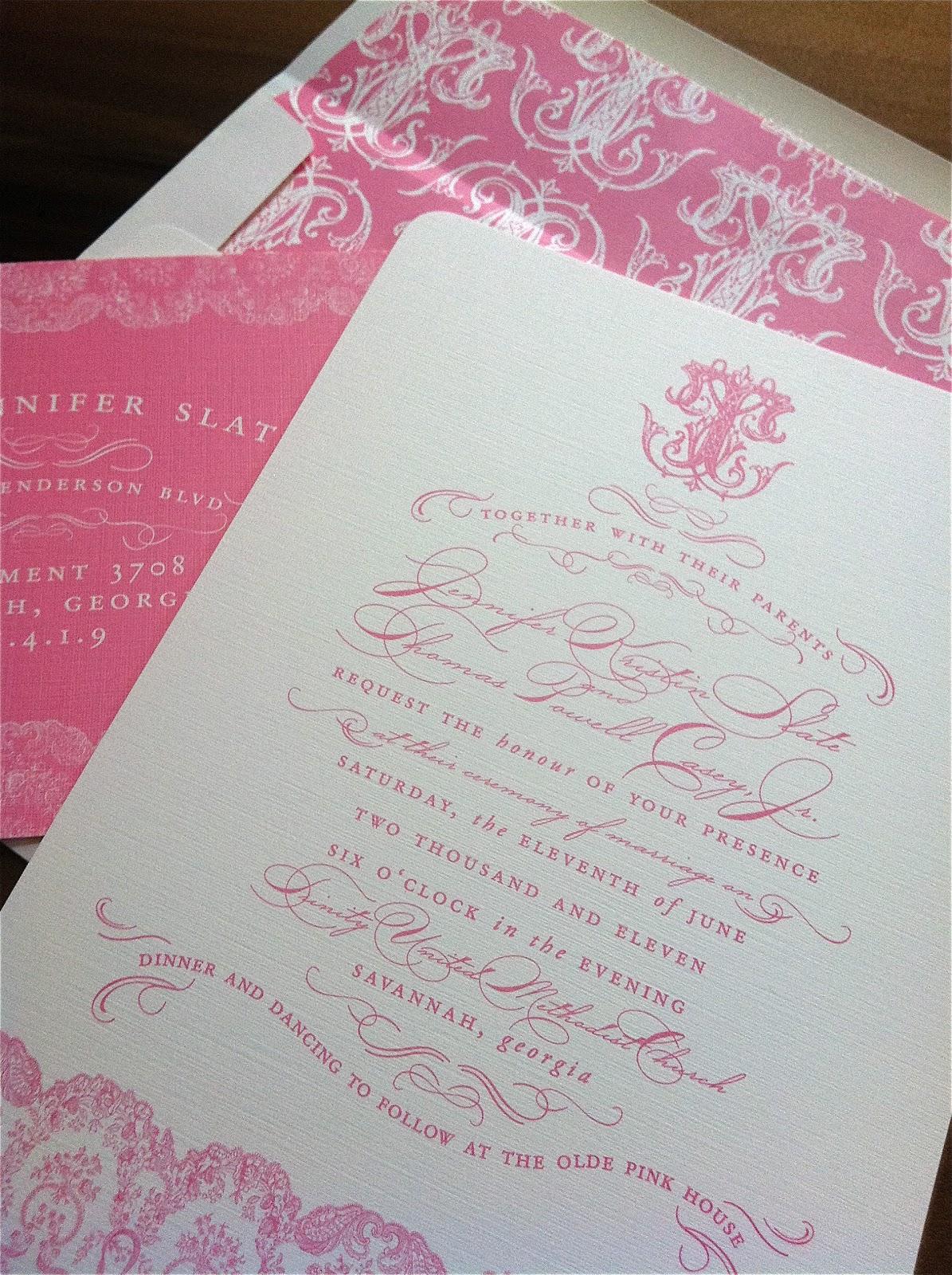 Pink Wedding Invitations with Antique Monogram   Emily McCarthy