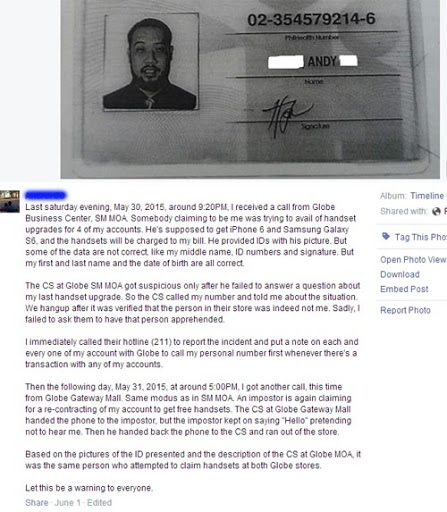 identity theft case on Facebook