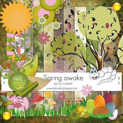 "Free scrapbook collab part ""Spring Awake"" from Andreina"