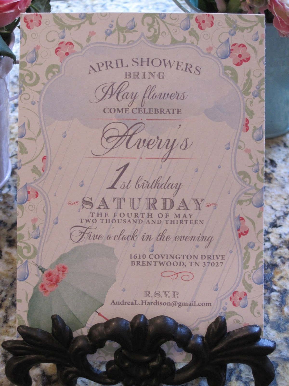 Team hardison averys first birthday party april showers bring averys first birthday party april showers bring may flowers izmirmasajfo