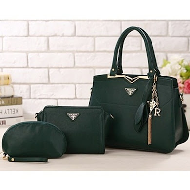 PRADA DESIGNER BAG (3 IN 1 SET) - ARMY GREEN