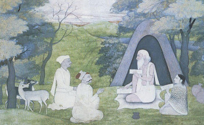 The sage-poet Valmiki teaches Ramayana in Dandaka Forest. His disciples, Kusa and Love, listen attentively.