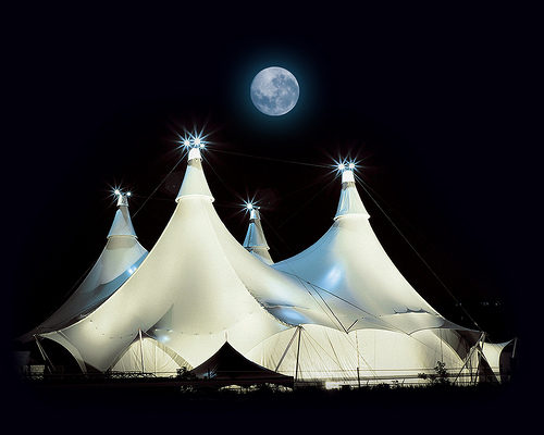 Cavalia is equestrian arts stage arts + high-tech effects in a futuristic tent & mod*mom