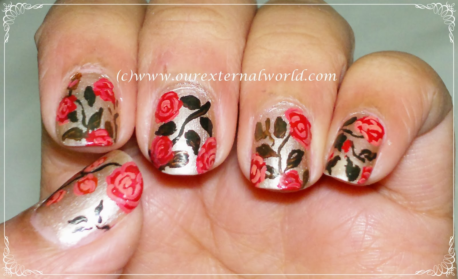 Vintage Rose Nail Art Tutorial  Inspired By Robin Moses
