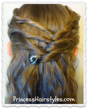 Cute Half Up Hair style - Criss Cross Twists princesshairstyles.com