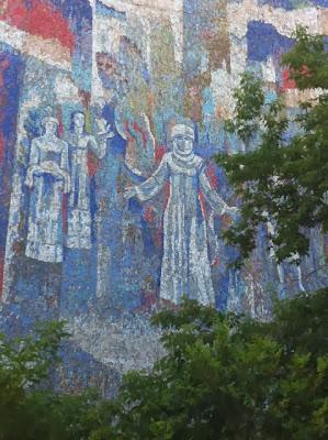 bishkek mosaic buildings, kyrgyzstan tours, kyrgyz art craft