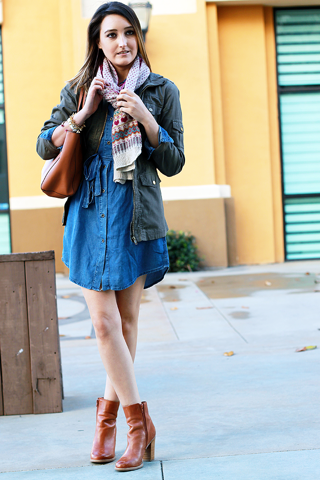 Forever 21 Denim Shirt Dress and Military Jacket for Fall